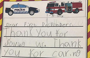 First-Graders Write Letters to First Responders
