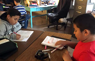 Fourth-Grade Works on Reading Skills