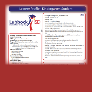 Learner Profile - Kindergarten Student