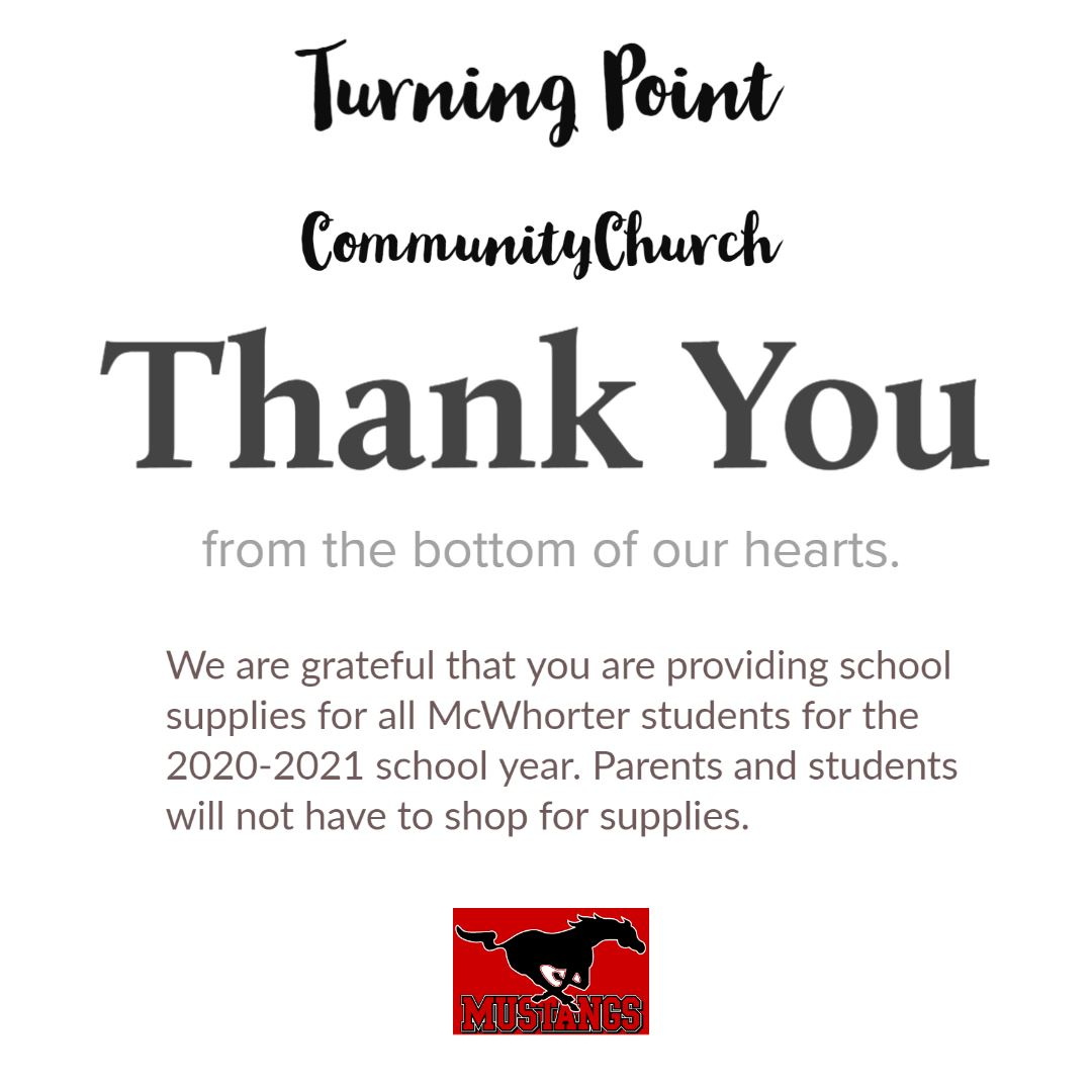 Thank you note for donated school supplies for all students.