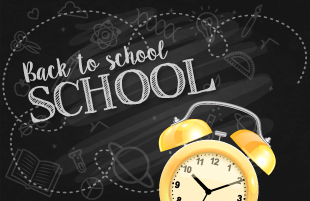Back to School text with alarm clock image