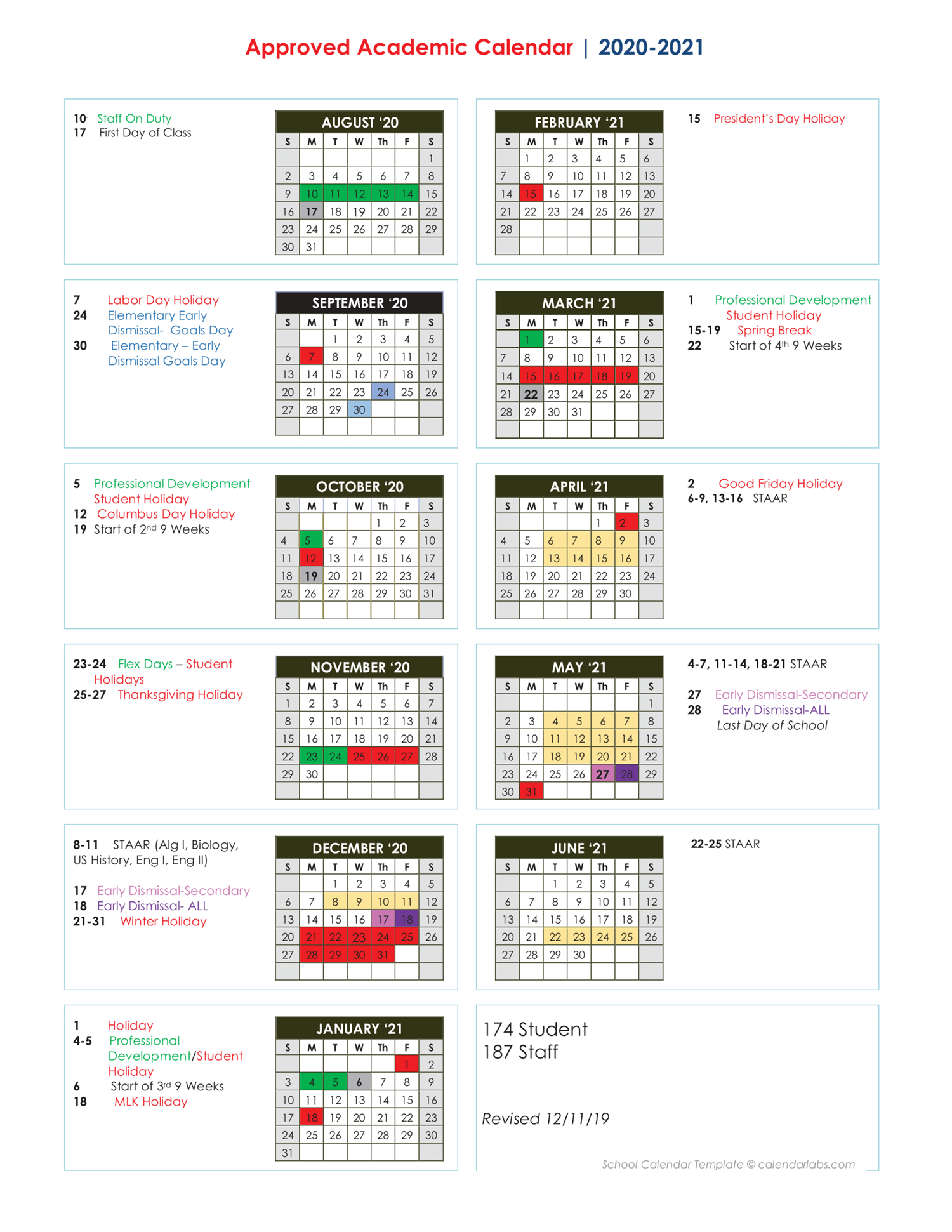 Approved Academic Calendar 2020-2021