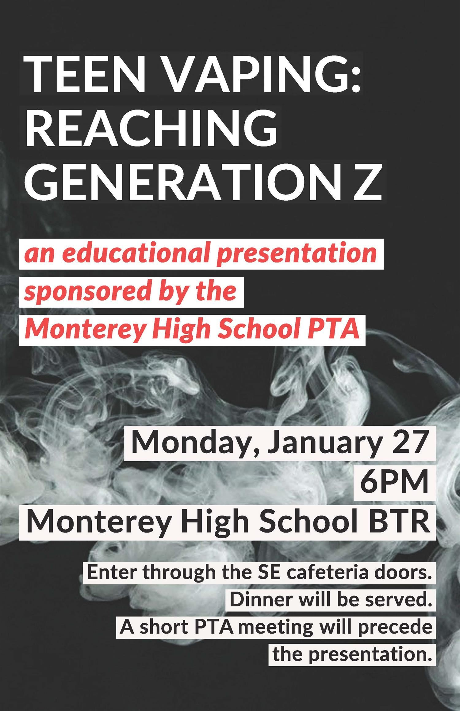 Teen Vaping Educational Presentation, January 27 at 6:00 in the BTR