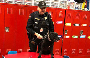 Officer Kissell and Bad the Police Dog Visit PreK