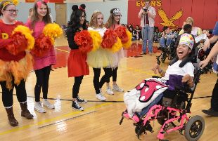 Students as Evans Middle School celebrated the granting of a wish