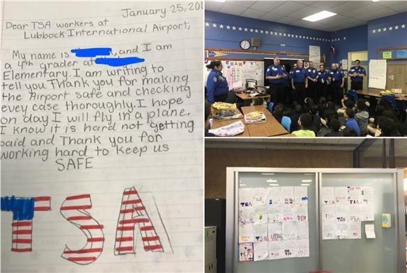 Hodges ES Students Encourage Local TSA Staff