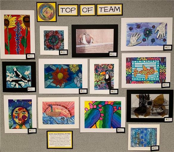 Fifteen Lubbock ISD Top of TEAM winners are recognized for their artwork