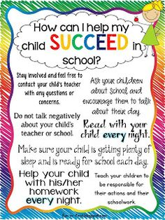 How I can help my child succeed in school