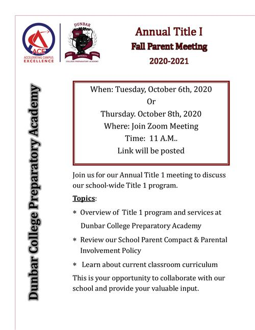 Fall Parent Meeting