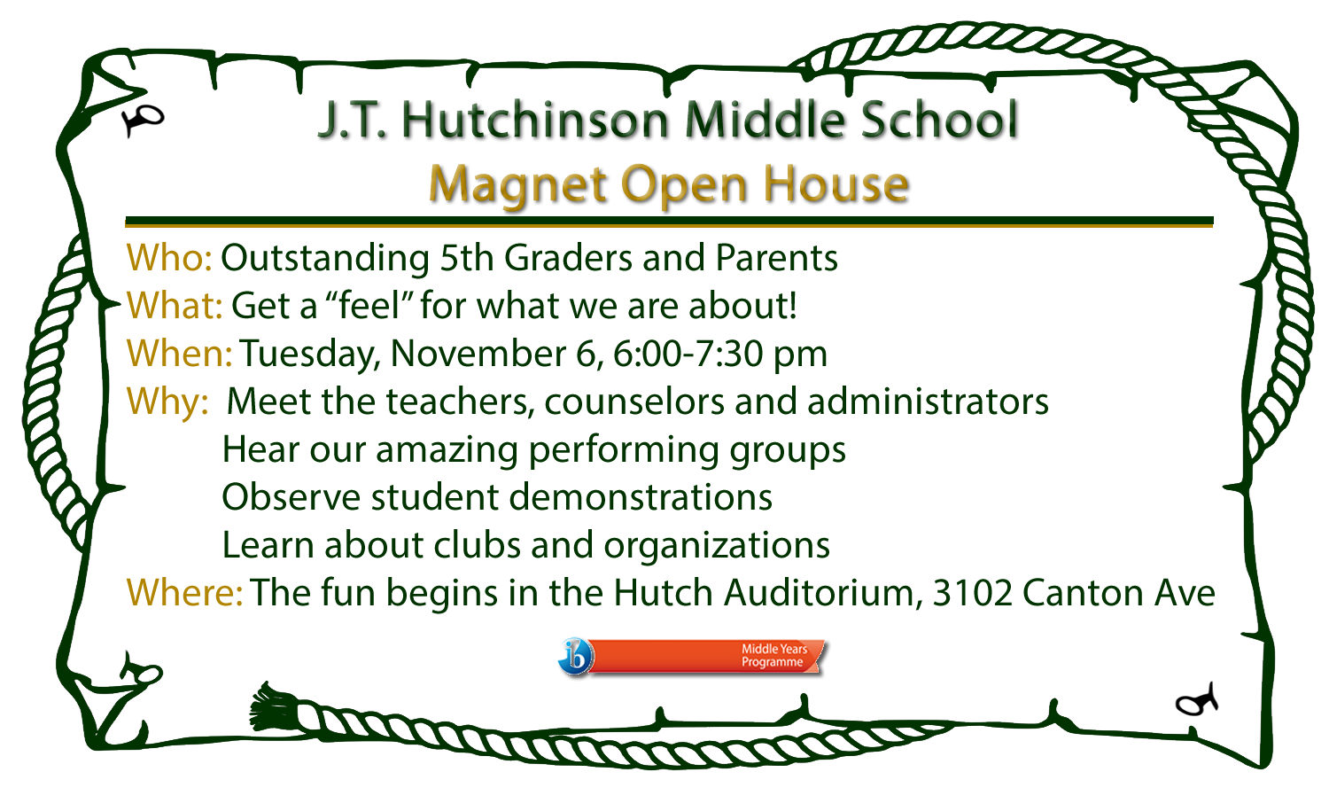 Magnet Open House November 6 from 6 - 7:30