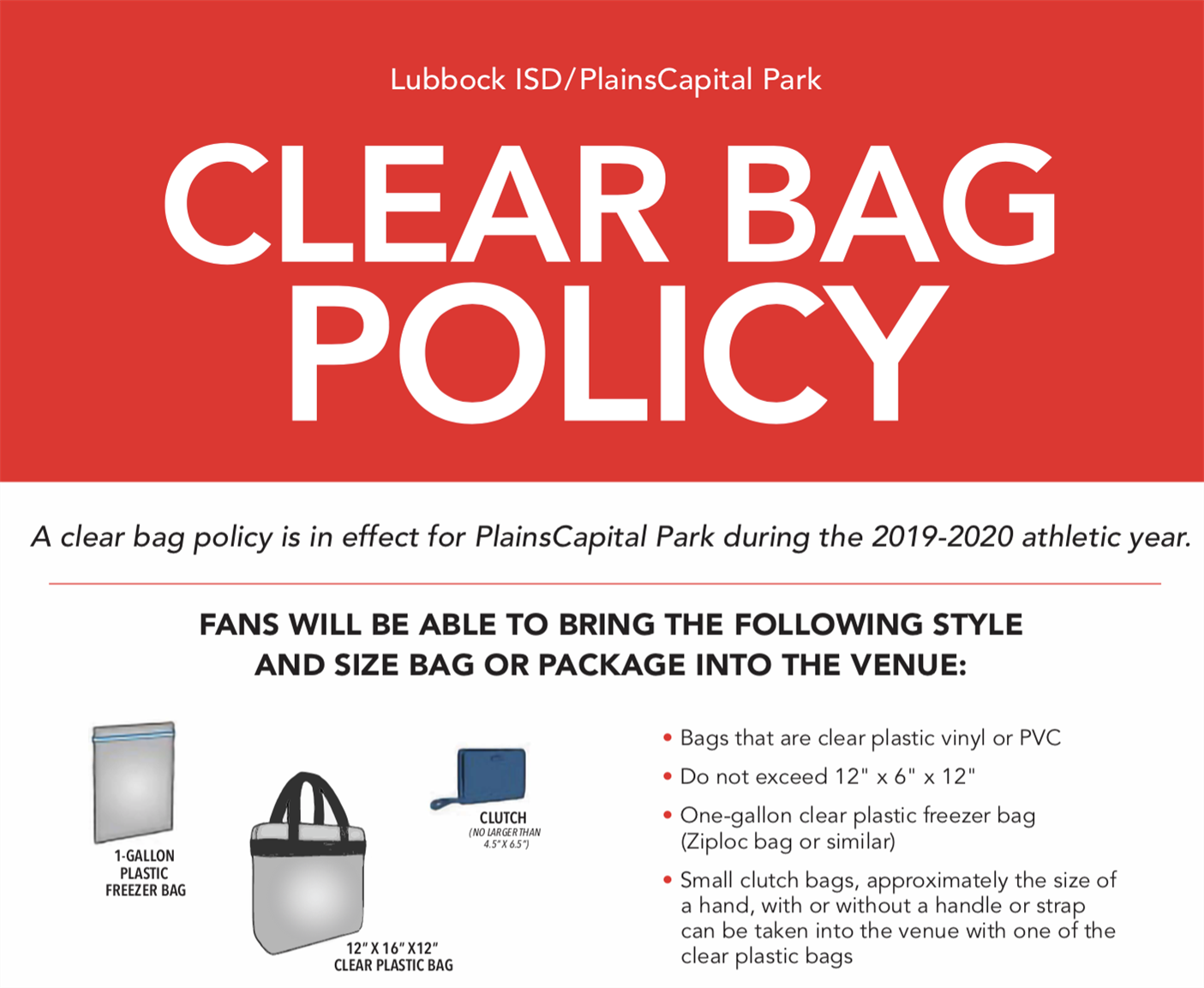 Plains Capital Park Clear Bag Policy