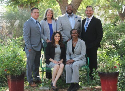 Estacado Early College High School Administration team shown outdoors under a tree.