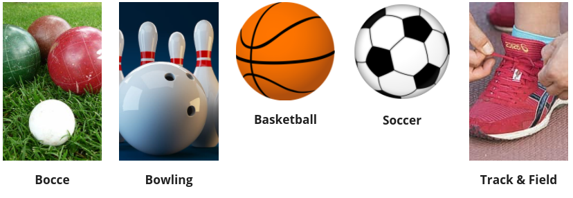 Bocce, bowling, basketball, soccer, track and field