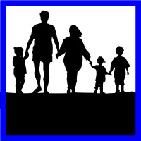 Parents walking with children